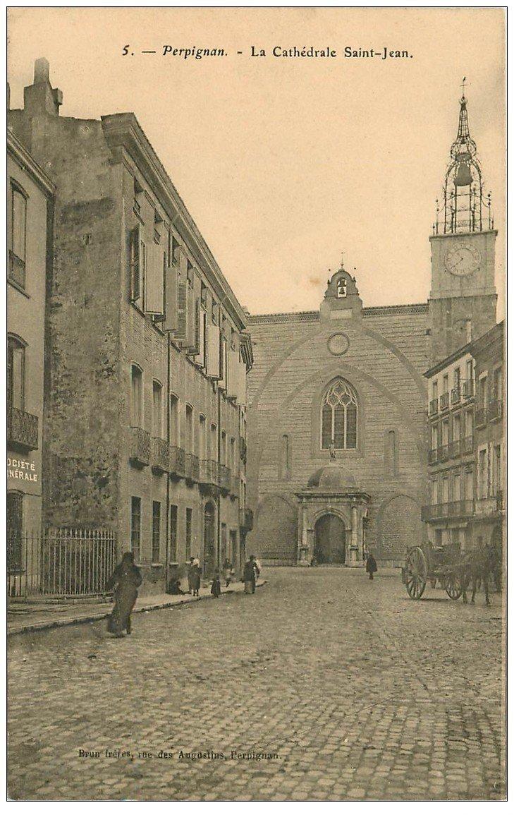 carte postale ancienne 66 PERPIGNAN. Banque Société Générale et Cathédrale