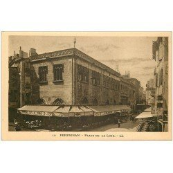 carte postale ancienne 66 PERPIGNAN. Café de France Place de la Loge