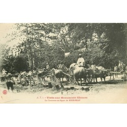 Cambodge SIEM-NEAP. La Caravane au départ Monuments Khmers