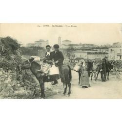 20 ILE ROUSSE. Types Corses porteurs de lait à dos d'ânes et mules