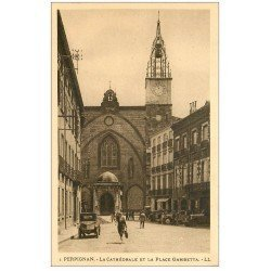 carte postale ancienne 66 PERPIGNAN. Cathédrale Place Gambetta