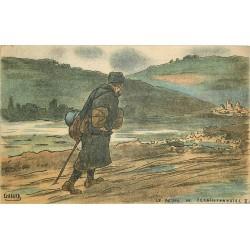Illustrateur Gabard GUERRE 1914-18 militaires soldats poilus. Le retour du Permissionnaire