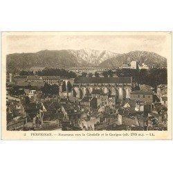 carte postale ancienne 66 PERPIGNAN. Citadelle et Canigou 1947