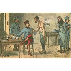 Illustrateur Gabard GUERRE 1914-18 militaires soldats poilus. La visite médicale