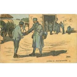Illustrateur Gabard GUERRE 1914-18 militaires soldats poilus. Le Départ du Permissionnaire