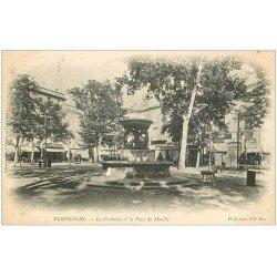 carte postale ancienne 66 PERPIGNAN. Fontaine Place du Marché 1905. Affiche Ripolin