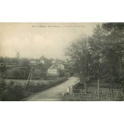 79 L'ABSIE. Café Avenue de la Gare et Moulin à vent au lointain vers 1918