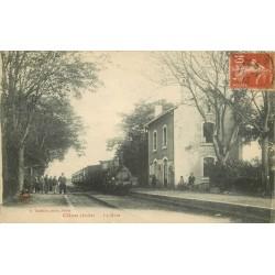 36 CLION. La Gare Clion-sur-Indre avec Train locomotive 1918