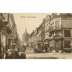"""59 DOUAI. Tramway et Horloger """" Au Diamant Bleu """" Rue Saint-Jacques"""