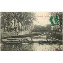 carte postale ancienne 66 PERPIGNAN. La Basse vue de la Passerelle 1913