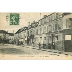 """95 ERMONT. Café """" Au Centre """" et Papeterie Place de l'Eglise 1923"""