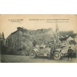 02 FONTENELLE. Voiture militaire et ruines après le passage des Allemands 1915