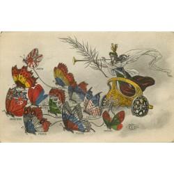 CHAR DE LA VICTOIRE tiré par des Papillons de Russie, Angleterre, Etats-Unis, France, Portugal, Belgique