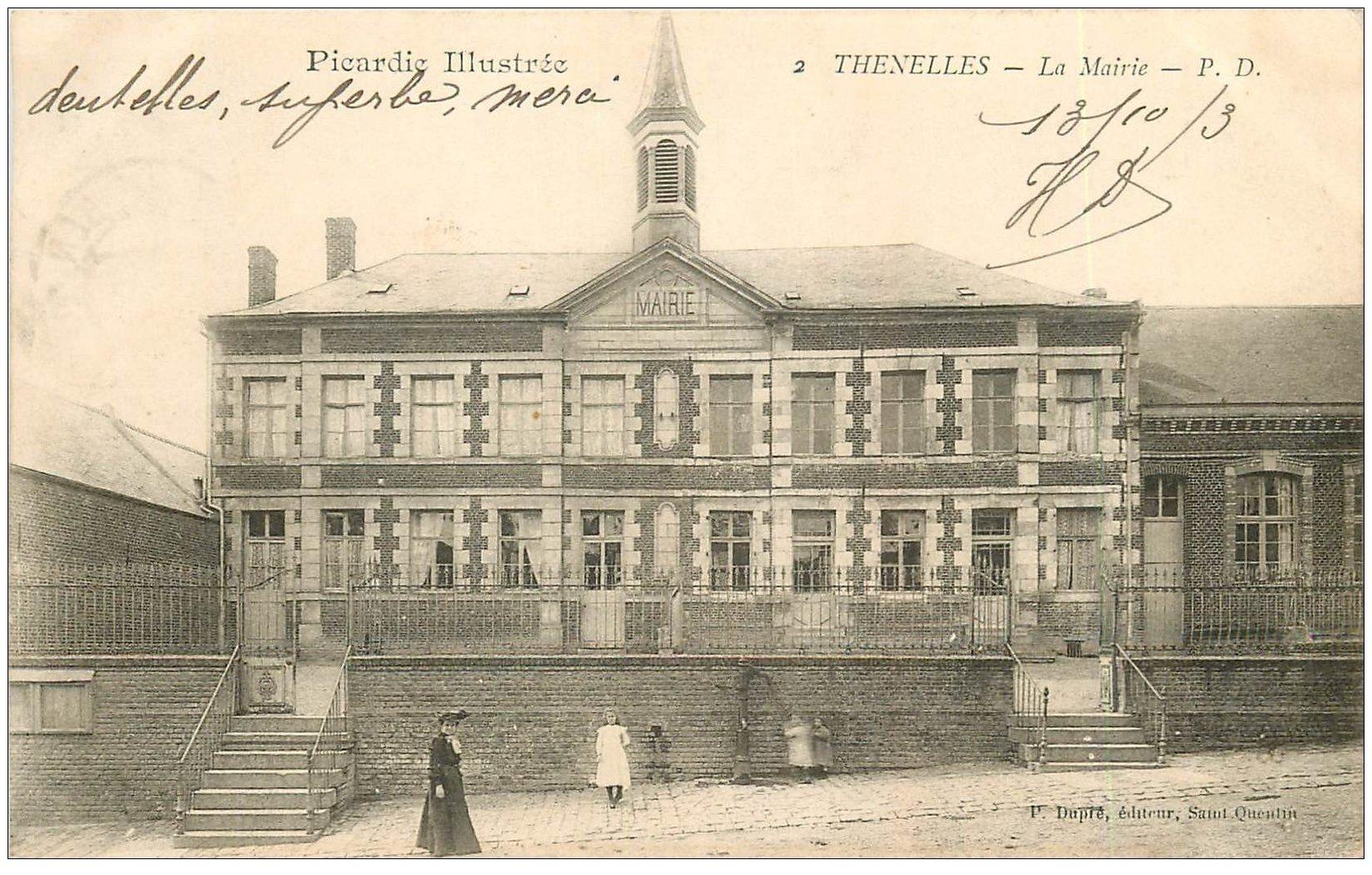 carte postale ancienne 02 THENELLES. La Mairie 1903