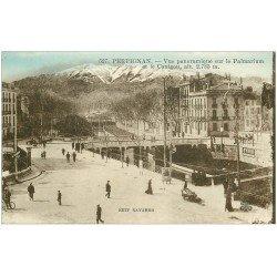carte postale ancienne 66 PERPIGNAN. Vue sur le Palmarium 1926 et le Canigou. Affiche Byrrh