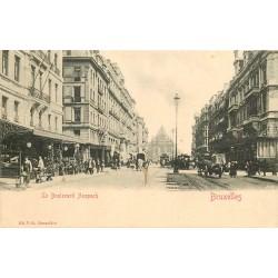 BRUXELLES. Tramways et Cafés sur le Boulevard Anspach 1903