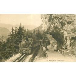 Brünigbahn bei Lungern 1920 Train avec locomotive à vapeur et promeneurs avec Chiens