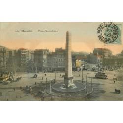 13 MARSEILLE. Tramways et attelages Place Castellane 1907