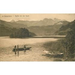 LUNGERNSEE. Partie bei der Insel avec Pêcheurs au filet 1921