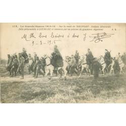 NIEUPORT. Soldats Allemands prisonniers à Dixmude escortés par goumiers Algériens 1915