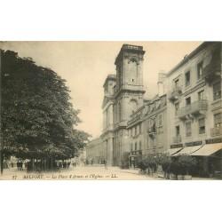 90 BELFORT. Eglise Place d'Armes Grand Café Vitte 1917