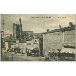 carte postale ancienne 63 AMBERT. Boulevard Sully Café du Globe