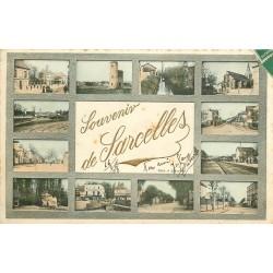 95 SARCELLES. Multivues avec lettres dorées en relief 1909