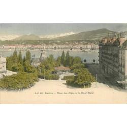 Carte précurseur vers 1900 GENEVE. Place des Alpes et Mont-Blanc