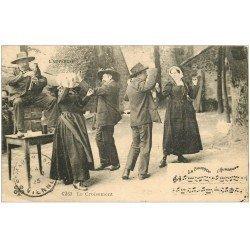 carte postale ancienne 63 Autres L'AUVERGNE. Le Croisement 1923. La Bourrée Danseurs et Musicien de Cornemuse auvergnate