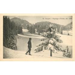 SAINT CERGUE. Paysage d'hiver avec skieurs 1925