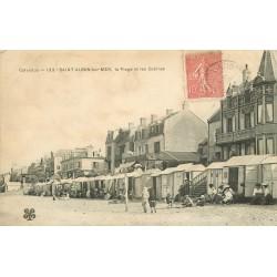 14 SAINT AUBIN SUR MER. Les Cabines sur la Plage vers 1906