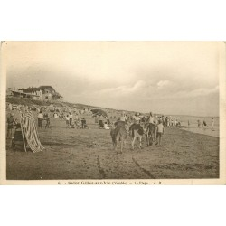 85 SAINT GILLES SUR VIE. Promenades à dos d'ânes sur la Plage 1907