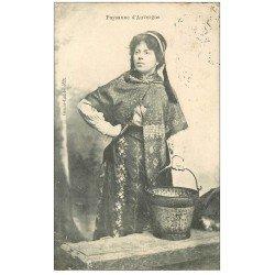 carte postale ancienne 63 AUVERGNE. Paysanne porteuse d'eau 1906