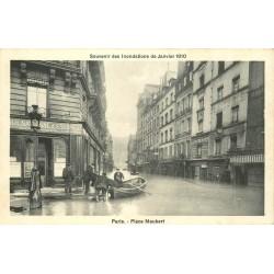 PARIS. Les Inondations de 1910 avec un texte au verso. Place Maubert