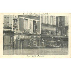 PARIS. Les Inondations de 1910 avec un texte au verso. Quai de la Tournelle