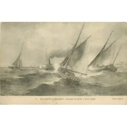 14 VILLERVILLE-SUR-MER. Bateaux de Pêche par gros temps