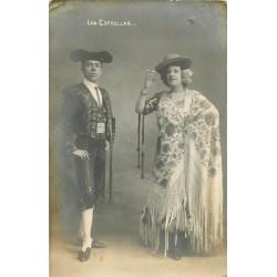 """Photo cpa Couple de danseurs Espagnols de Flameco """" Les Estrellas """""""