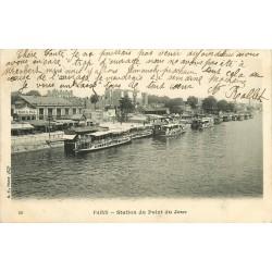 PARIS 16° . Grand Bal Station du Point du Jour avec Péniches Bateaux-Mouche 1906
