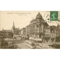 59 TOURCOING. La Bourse et Tramways Place de la République 1923