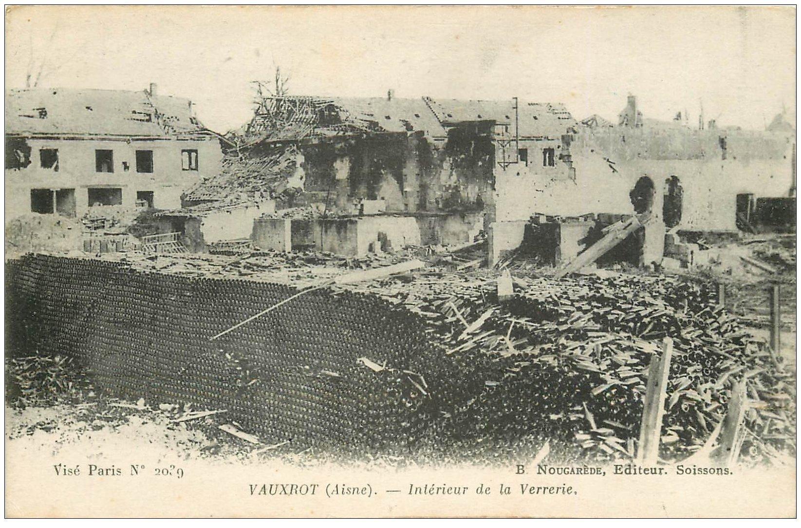 carte postale ancienne 02 VAUXROT. La Verrerie bombardée 1917