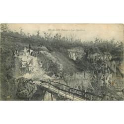 2 x cpa 36 CLION. Ouvriers aux Carrières 1918 et Château Isle Savary