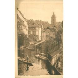 2 x cpa 68 COLMAR. Barges sur la petite Venise et trois Autel Eglise St Martin