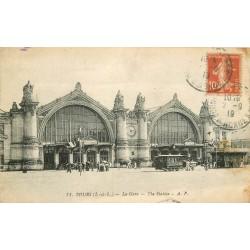 2 cpa 37 TOURS. La Gare 1919 et Hôtel de Ville 1913