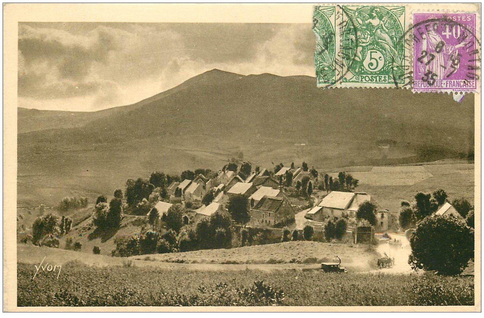 carte postale ancienne 63 BRESSOULEILLE. Le Village 1935 Route Lac Chambon