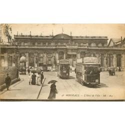 3 cpa 33 BORDEAUX. Hôtel de Ville 1920, Allées Tourny et la Ville 1945