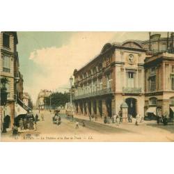3 cpa 51 REIMS. Théâtre rue Vesle 1907 et Cathédrale incendiée 1917-26