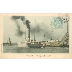 4 cpa 14 TROUVILLE. Augustin Normand 1905, Hôtel Roches-Noires 1929, Baigneurs 1922 et Bateau Vapeur 1907