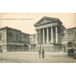 Deux cpa 34 MONTPELLIER. Palais de Justice et Planchon square de la Gare
