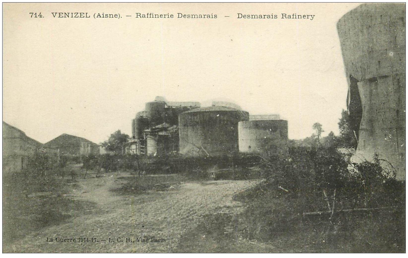 carte postale ancienne 02 VENIZEL. Raffinerie Desmarais