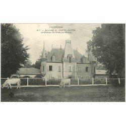 carte postale ancienne 63 CHATEAU DE CHEIX-SUR-MORGE avec Vaches près Chatelguyon